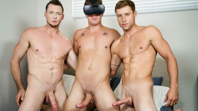 "Hot hunks Justin Matthews, JJ Knight and Pierce Paris in ""Virtual Fuck"" part 2 from Men.com"