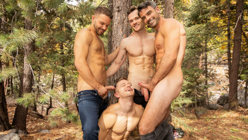 Sean, Daniel, Jackson and Deacon are packed and ready to explore the outdoor at Sean Cody