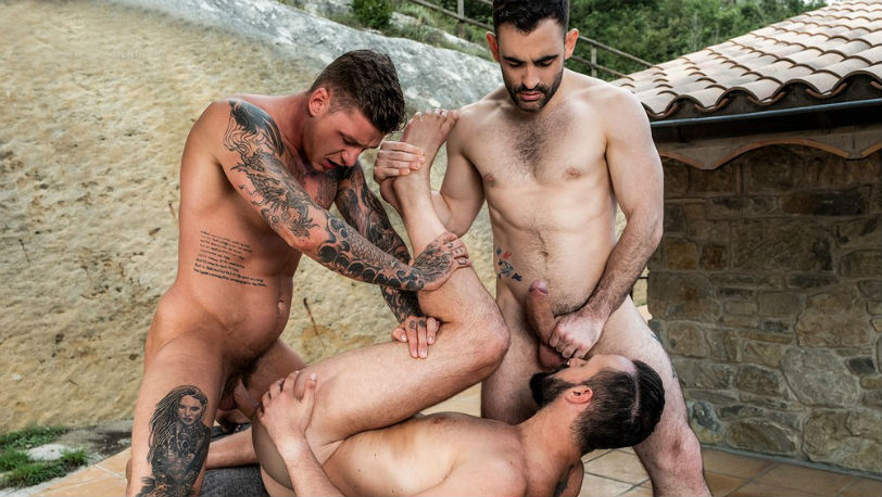 Max Arion, Geordie Jackson and Andy Onassis fuck outdoors at Lucas Entertainment
